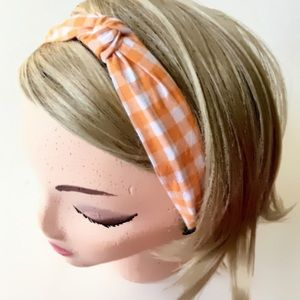 Orange Gingham Print Fabric Covered Headband